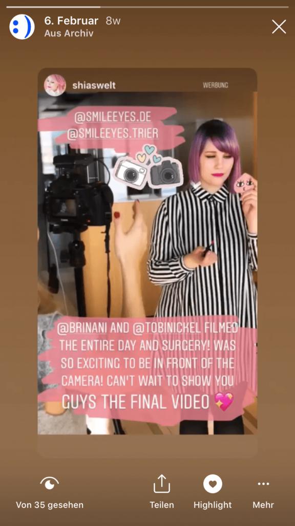 Shia wird vor Augen-OP gefilmt