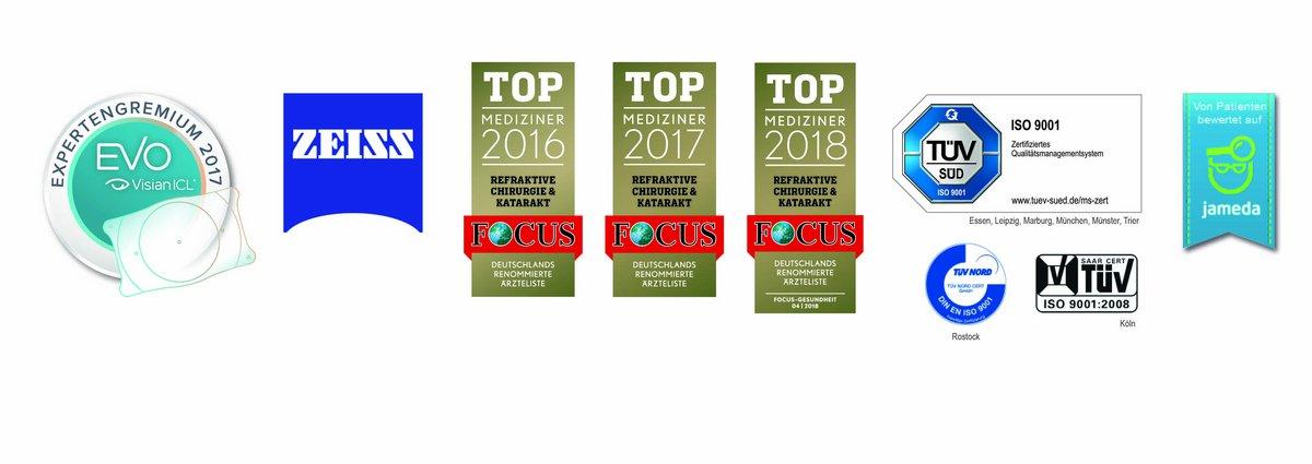 Logos Zertifikate und Gütesiegel - Tüv, Jameda, Top Mediziner, Zeiss, Visian