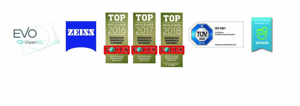 Zertifizierungen aus Trier: Visian, Zeiss, Focus Mediziner, TÜV, Jameda
