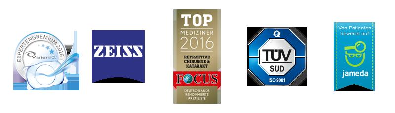Logos von Visian, Zeiss, FOCUS Top Mediziner 2016, TÜV Süd und jameda