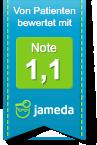 Jameda Logo mit 1,1 Bewertung